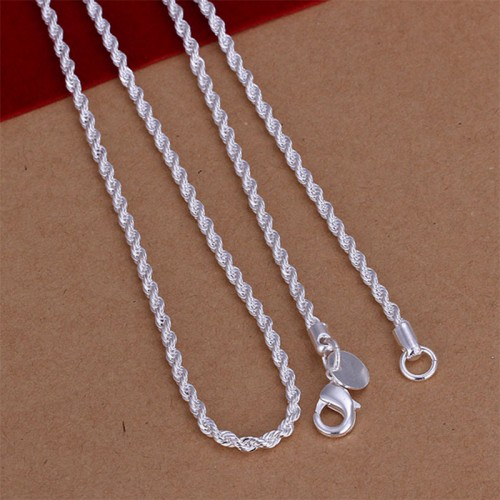 Unisex 925 Sterling Silver Plated Twisted Rope Chain Necklace Classic Jewelry