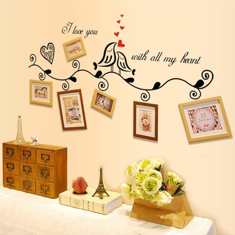 Lovely Life Tree and Love Birds Cute PVC Art Home Decor Wall Sticker ...