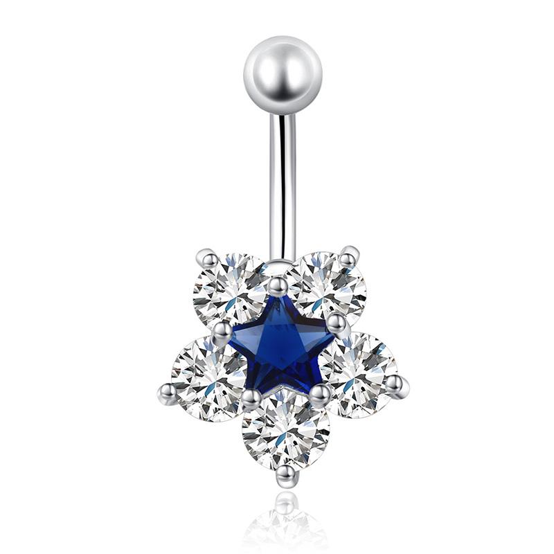 Crystal Rhinestone Star Flower Navel Ring Belly Button Bar Body Piercing Jewelry
