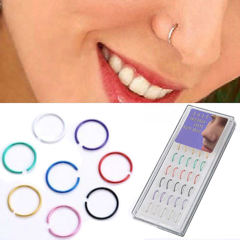 40Pcs Surgical Stainless Steel Nose Bone Studs Ring Hoop Body Piercing Jewelry