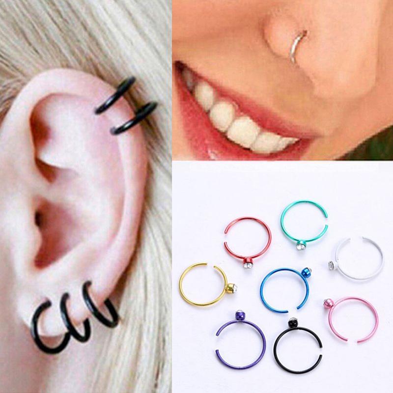 40Pcs Crystal Open Nose Ring Bone Stud Hoop Surgical Steel Body Piercing Jewelry
