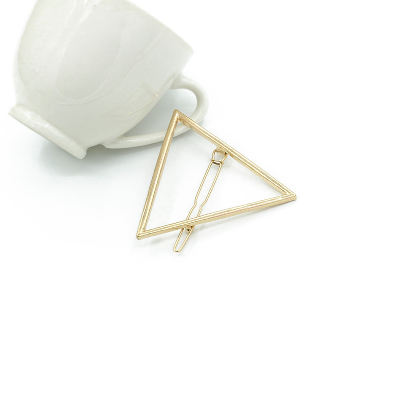 Girl Punk Hollow Out Moon Triangle Hair Clip Hairpin Clamps Gold Tone Women Fashion