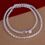 Unisex Sterling Silver Plated Twist Rope Chain Bracelet Necklace Jewelry Set