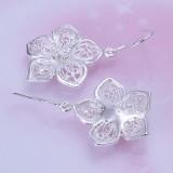 Women's Vintage Silver Plated Hollow Flower Dangle Ear Stud Earrings Jewelry