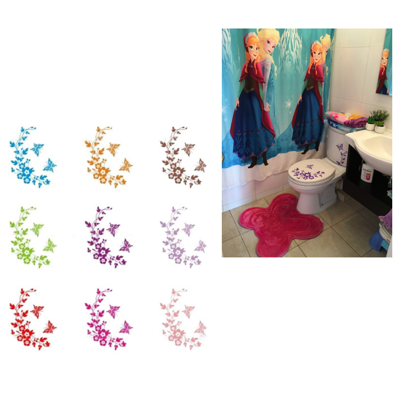 Colorful Butterfly & Flower Toilet Seat Sticker Bathroom Wall Home Decor