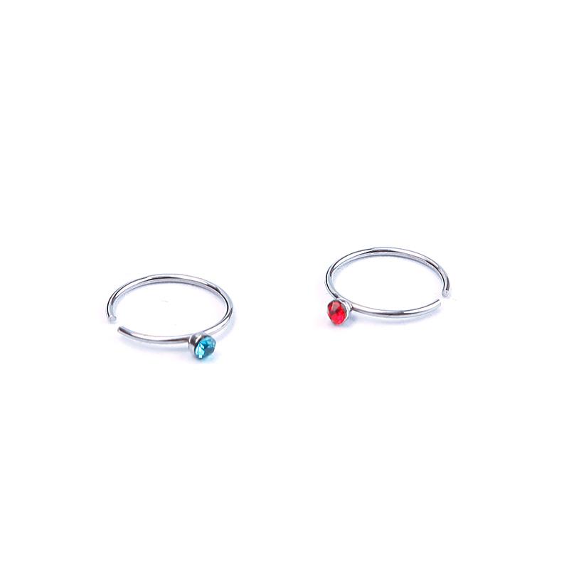 18Pcs Crystal Nose Ring Hoop Bone Stud Surgical Steel Body Piercing Jewelry
