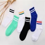 Men Cotton Colorful Stripes Striped Socks Unisex Sport Middle Socks
