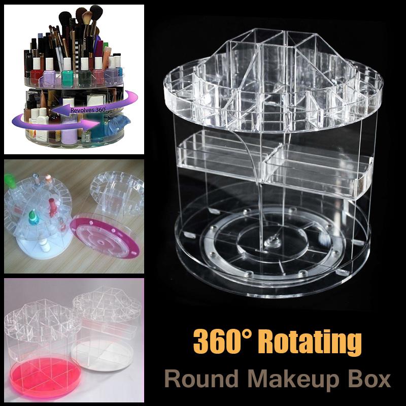 0c9d6962fed8 Clear 360° Rotating Cosmetic Organizer Round Makeup Box Brush Polish Holder  Rack