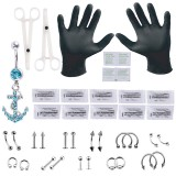 41Pcs Body Piercing Kit Needle Forcep Belly Nipple Tongue Eyebrow Lip Nose Rings