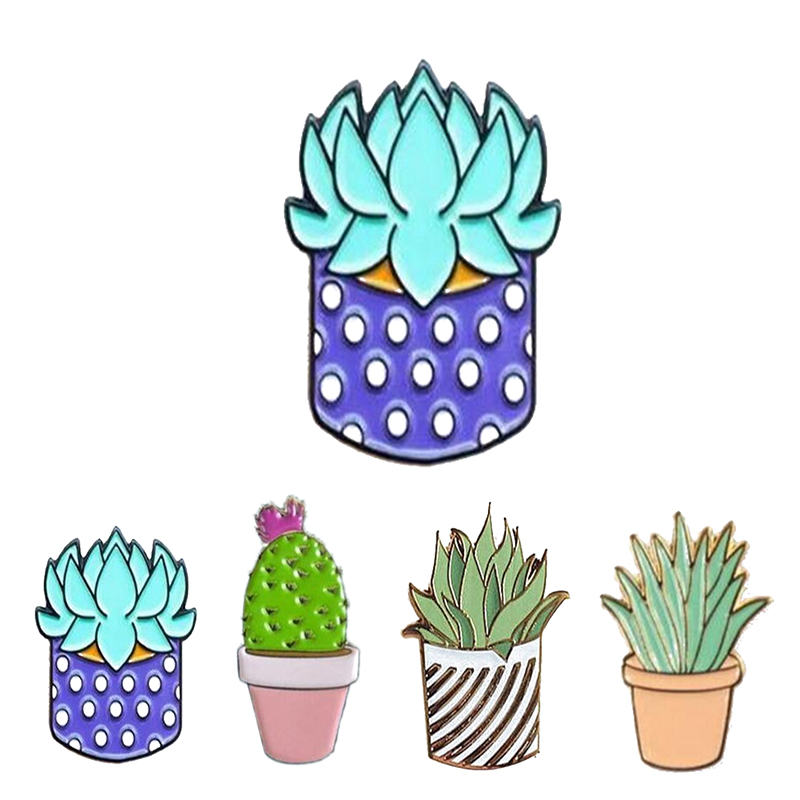 4pcs Cactus Lotus Flower Grass Aloe Vera Potted Badge Corsage Collar