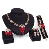 Women Gold Plated Crystal Necklace Bracelet Ring Earrings Wedding Luxury Jewelry Set