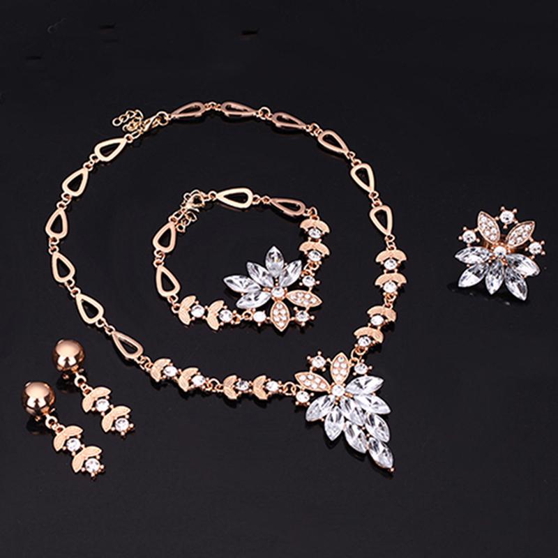 Women Gold Plated Crystal Necklace Bracelet Ring Earrings Wedding Luxury Jewelry Set