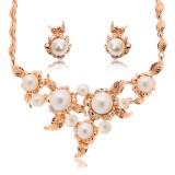 Womens Crystal Pearl Leaf Pendant Necklace Earrings Set Rhinestone Gold Plated Wedding Bridal Jewelry