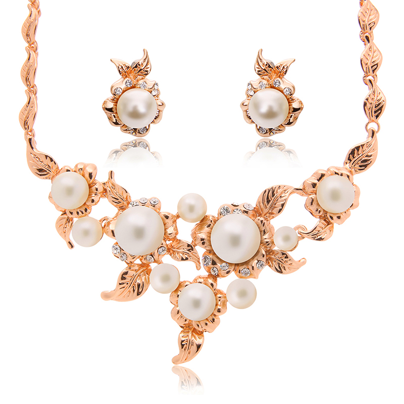 Womens crystal pearl leaf pendant necklace earrings set rhinestone womens crystal pearl leaf pendant necklace earrings set rhinestone gold plated wedding bridal jewelry aloadofball Image collections