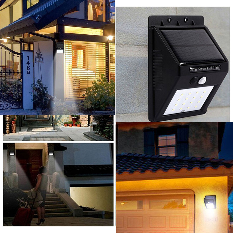 20 Led Waterproof Motion Sensor Solar Wall Light Outdoor Security Lamp