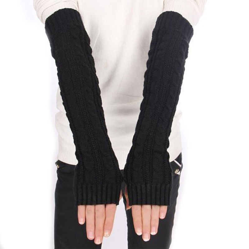 Women Knitted Crochet Braided Arm Warmers Hand Knitted Half Glove Grey Black Winter Warmer