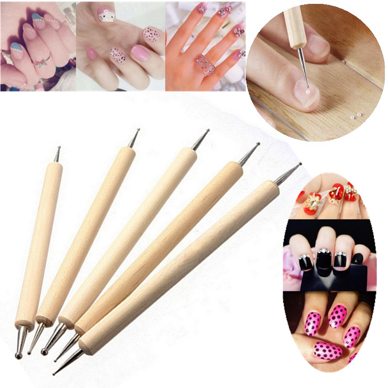 5pcs 2 Way Wooden Dotting Pen Marbleizing Tool Nail Art Dot Dotting