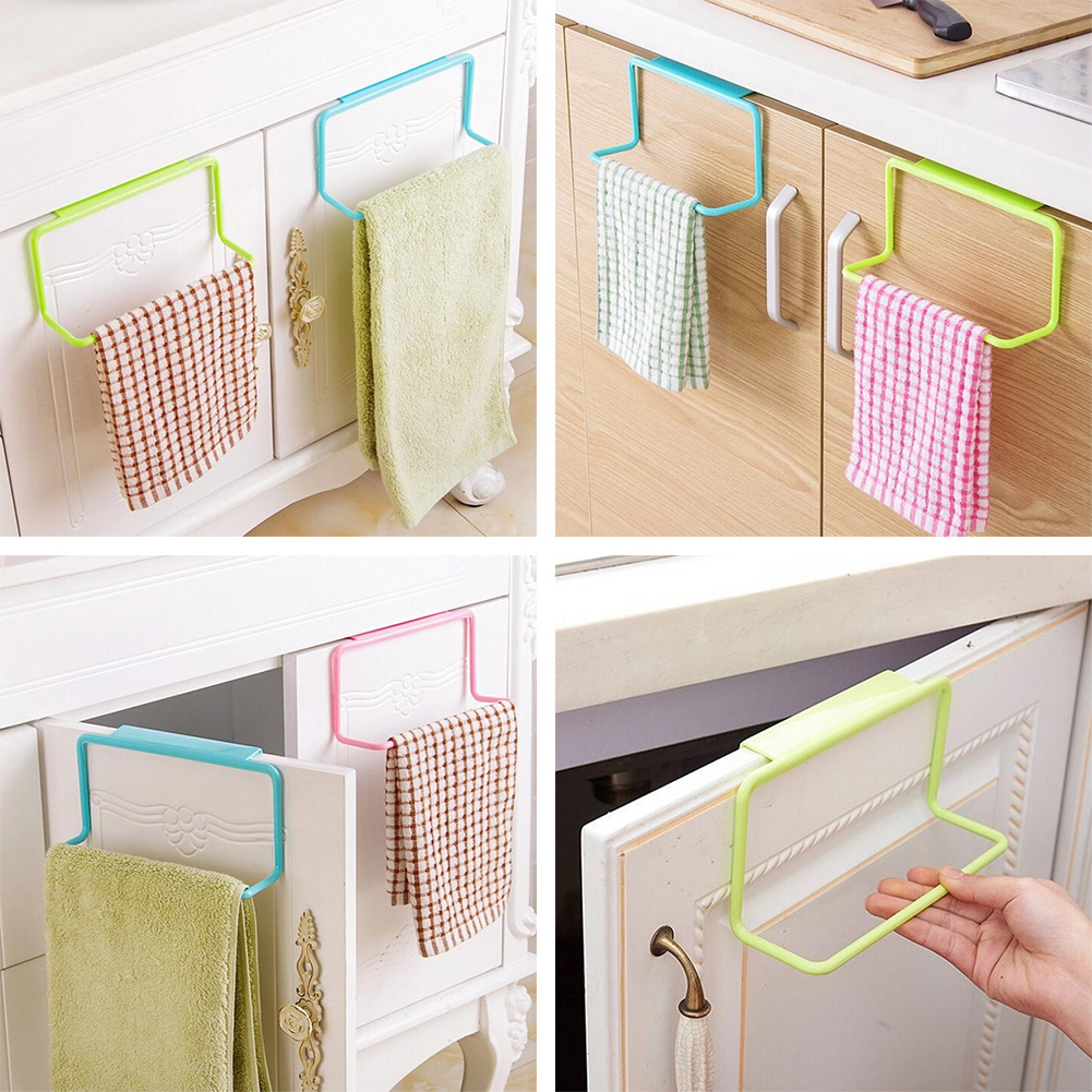 Metal Over Door Tea Towel Rack Bar Hanging Holder Rail Organizer ...