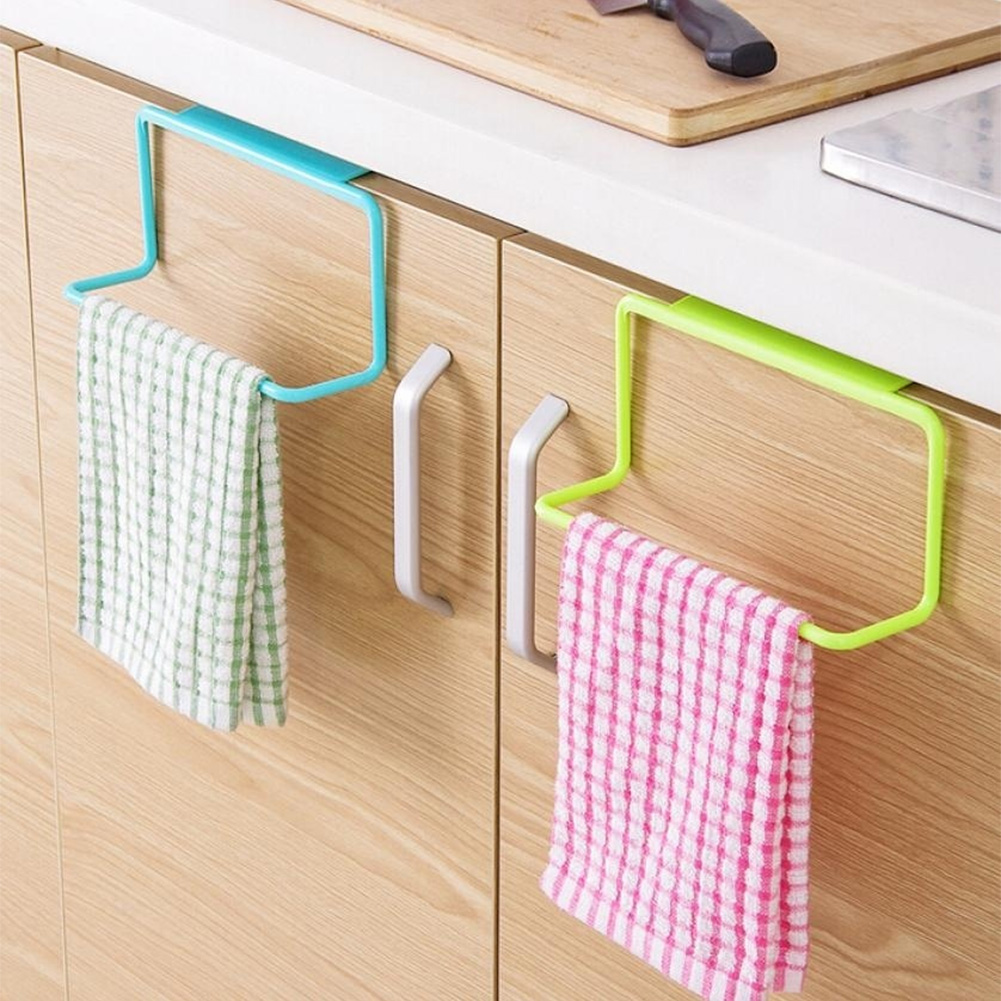 Metal Over Door Tea Towel Rack Bar Hanging Holder Rail Organizer Bathroom Kitchen Cabinet