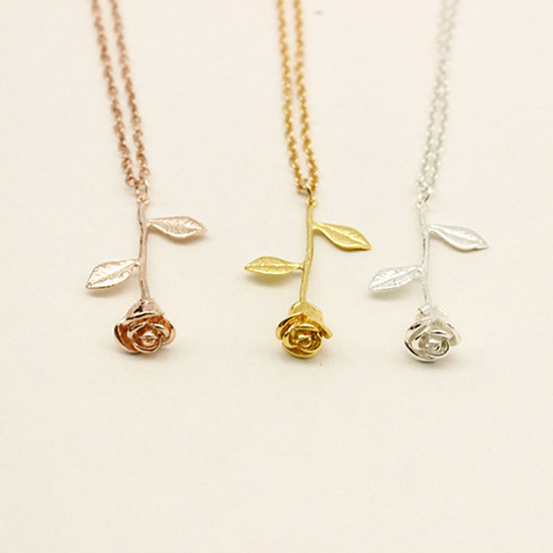 Luxury Gold Silver Beauty And The Beast Rose Pendant Necklace Anniversary Jewelry Gift Hot Alexnld Com