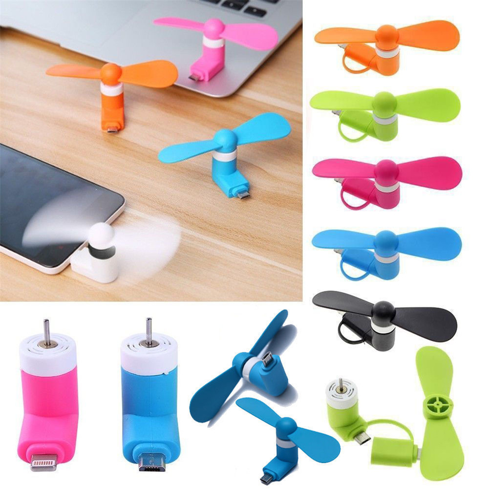Fashion 2 in 1 Mini Portable USB Fan Electric Air Cooler Fan For iPhone Samsung