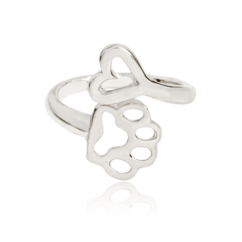 Love Paw Print Adjustable Ring