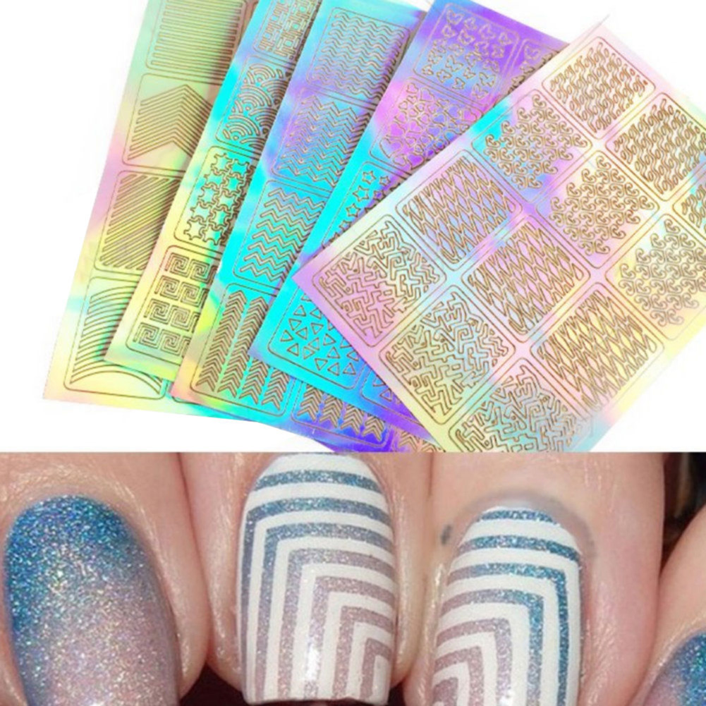 Multi Type Hollow out Nail Art Transfer Stickers Decal 3D Design ...