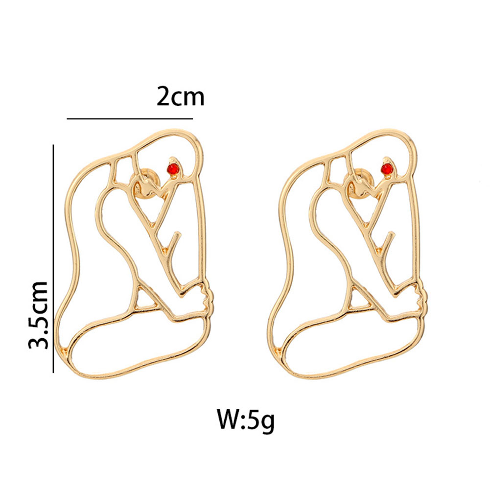 Women Unique Hollow Crystal Rhinestone Human Face Dangle Earrings Gold Drop Ear Stud Jewelry Accessories