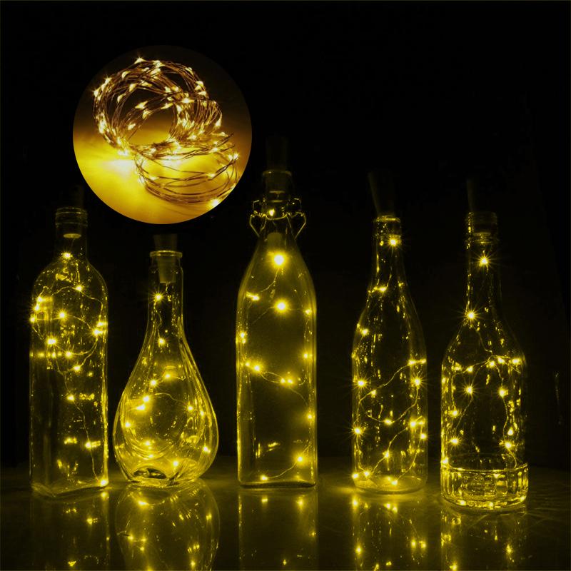 1m 10 led wine bottle cork shaped string light night fairy for Wine bottle night light diy