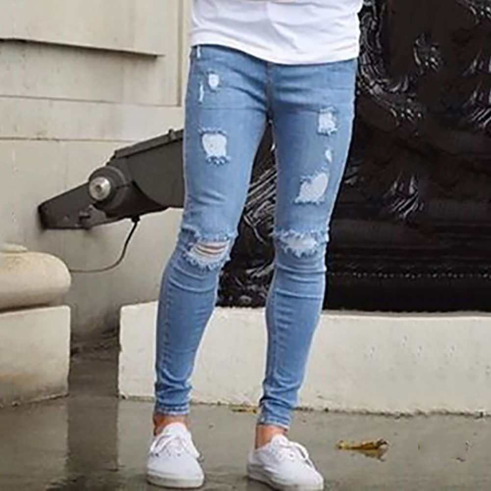 b45a6995 Fashion Men's Skinny Jeans Biker Destroyed Frayed Slim Fit Denim Ripped  Pants