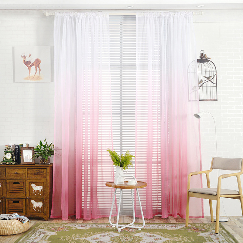 Gradient Color Tulle Curtain House Decor Door Panel Sheer ...