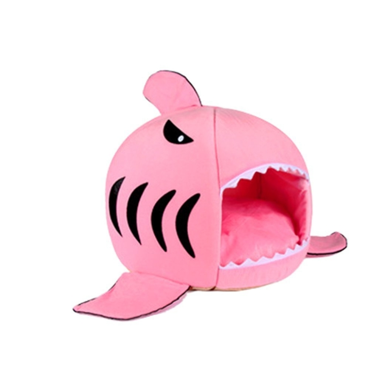 Indoor Pet Dog Puppy Cat Warm House Sharks Pet Sleeping Bed Nest (Pink)