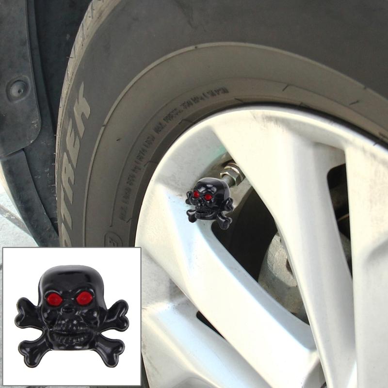 4 PCS Universal Skull Shape Gas Cap Mouthpiece Cover Gas Cap Tire Cap Car Motor Bicycle Tire Valve Caps (Black)