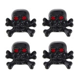 4 PCS Universal Skull Shape Gas Cap Mouthpiece Cover Gas Cap Tire Cap Car Motor Bicycle Tire Valve Caps (Black)