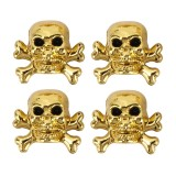 4 PCS Universal Skull Shape Gas Cap Mouthpiece Cover Gas Cap Tire Cap Car Motor Bicycle Tire Valve Caps (Gold)