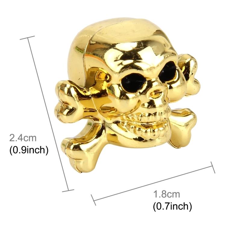 4 PCS Universal Skull Shape Gas Cap Mouthpiece Cover Gas Cap Tire Cap Car Motor Bicycle Tire Valve Caps (Gold)