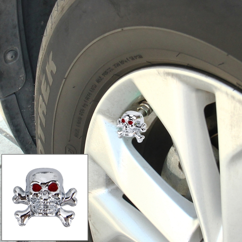 4 PCS Universal Skull Shape Gas Cap Mouthpiece Cover Gas Cap Tire Cap Car Motor Bicycle Tire Valve Caps (Silver)