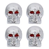 4 PCS Universal Skull Style Antirust Copper Core Gas Cap Mouthpiece Cover Gas Cap Tire Cap Car Motor Bicycle Tire Valve Caps (Silver)