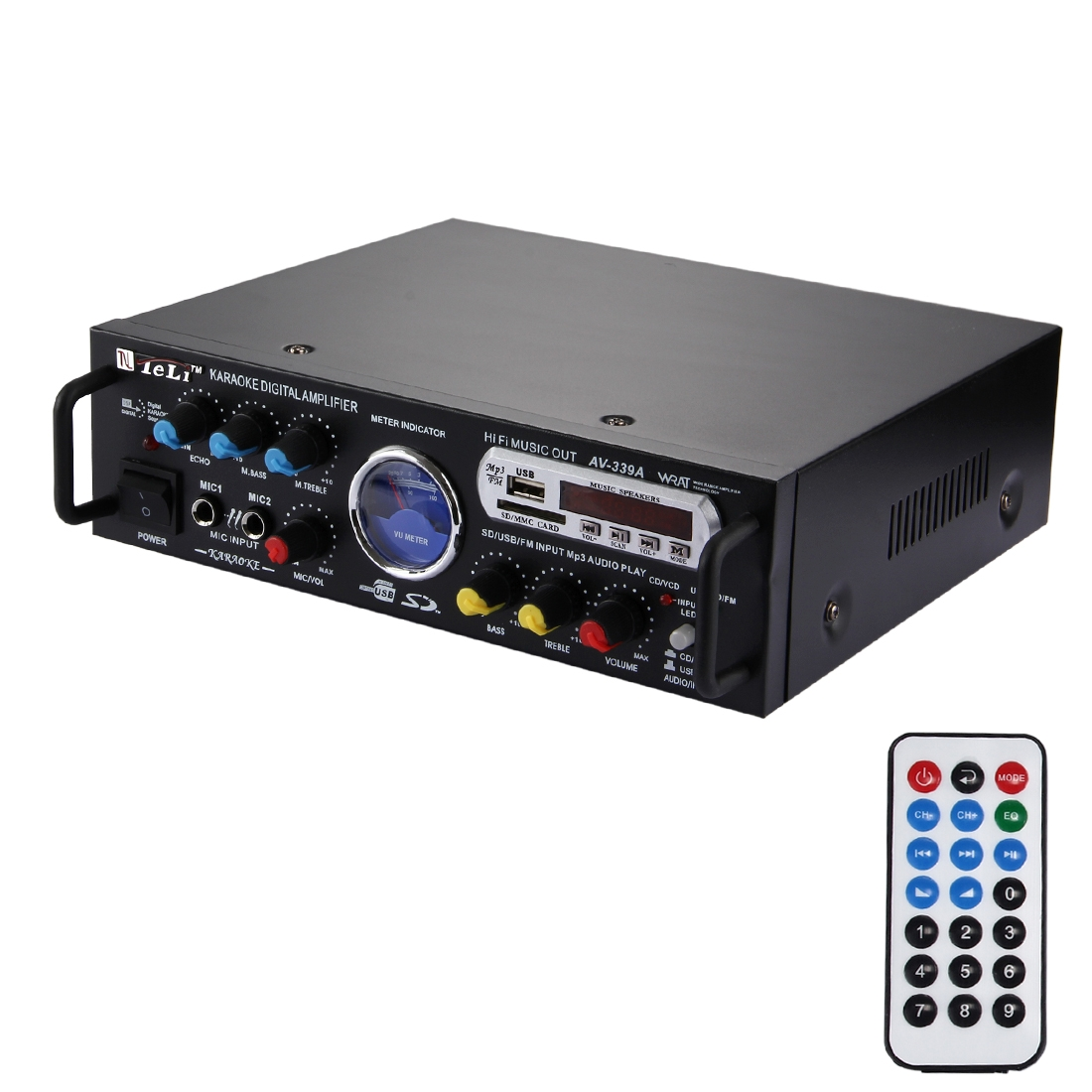 AV-339A 2CH HiFi Stereo Audio Amplifier with Remote Control, Support FM / SD / MP3 Player / USB / Display / Meter Indicator, AC 220V / DC 12V