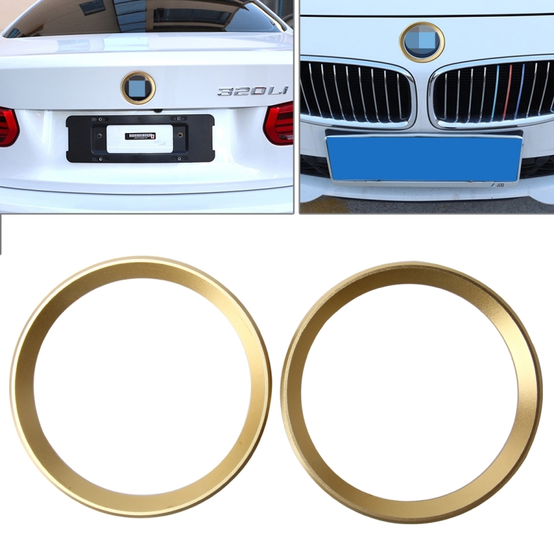 2 PCS Car Logo Decorative Circle Steering Wheel Decoration Ring Sticker Logo Car Styling Modification Car Front Logo Ring Decoration Rear Cover Trim Hood Emblem Rings for BMW 5 Series (Gold)