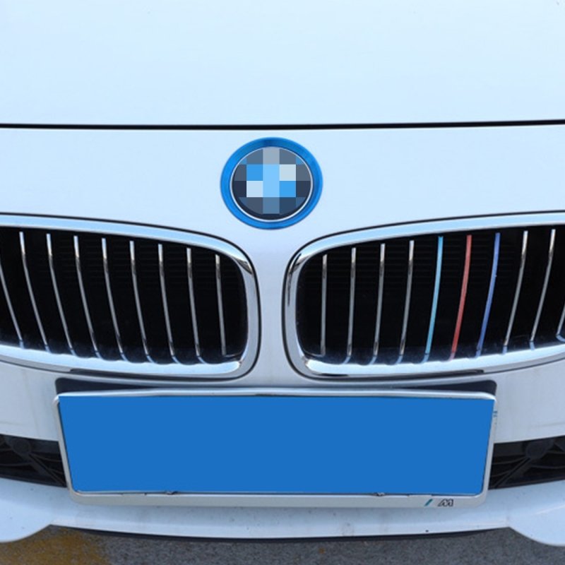 2 PCS Car Logo Decorative Circle Steering Wheel Decoration Ring Sticker Logo Car Styling Modification Car Front Logo Ring Decoration Rear Cover Trim Hood Emblem Rings for BMW 5 Series (Blue)