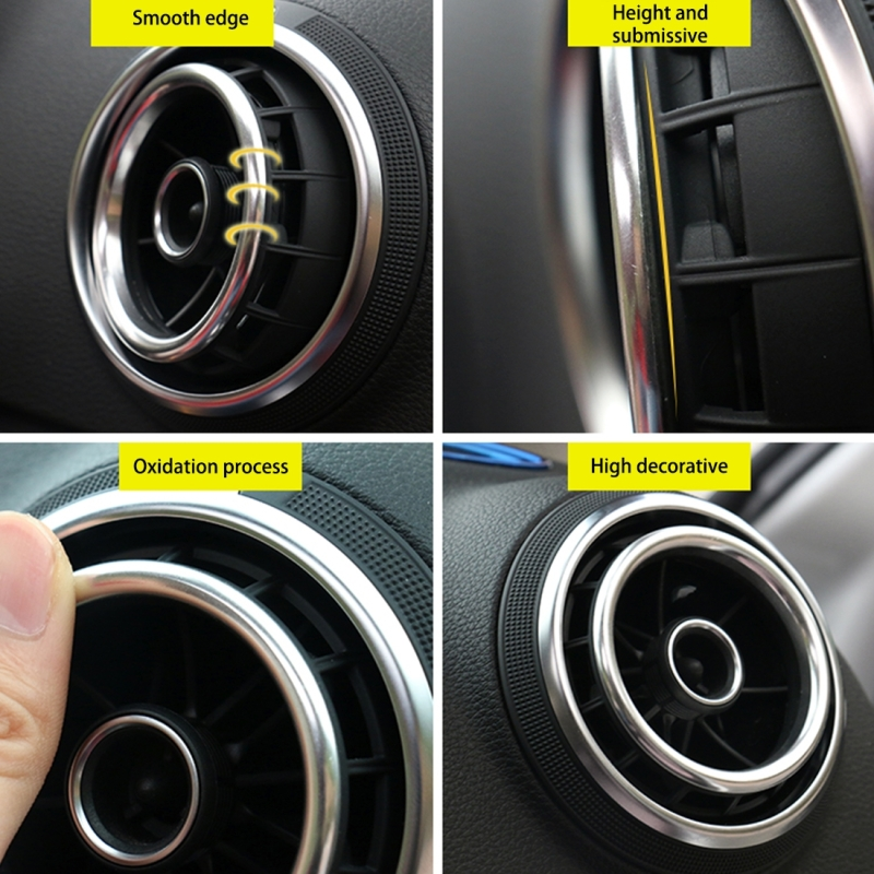 4 PCS Car Outlet Decorative Rings Aluminum Alloy Air Outlet Chrome Trim Ring Car Dashboard Air Vents Cover Sticker Decoration for Audi A3 (Silver)