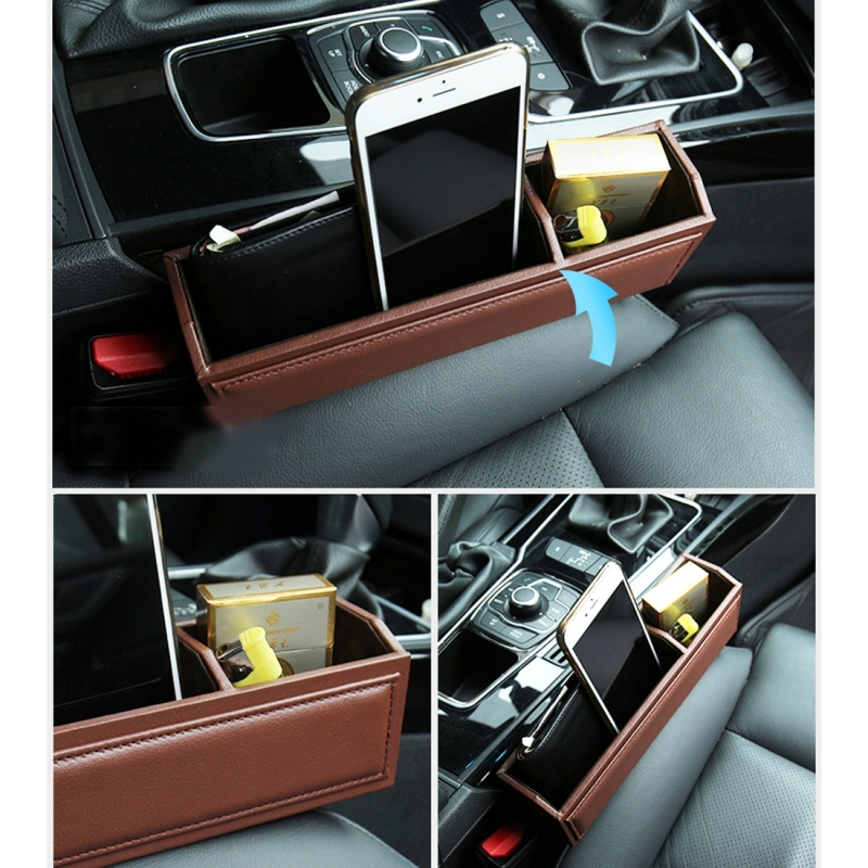 2 PCS Car Seat Crevice Storage Box With Interval Cup Drink Holder