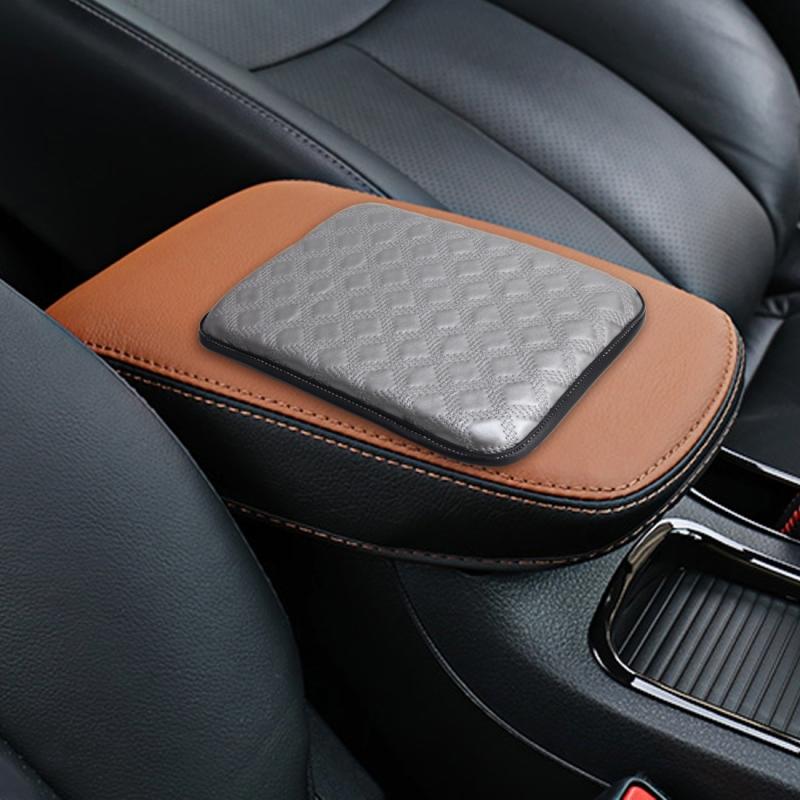 Universal Comfortable Automotive Armrest Mats Car Armrests Cover Vehicle Center Console Arm Rest Seat Box Soft Mats Cushion (Grey)