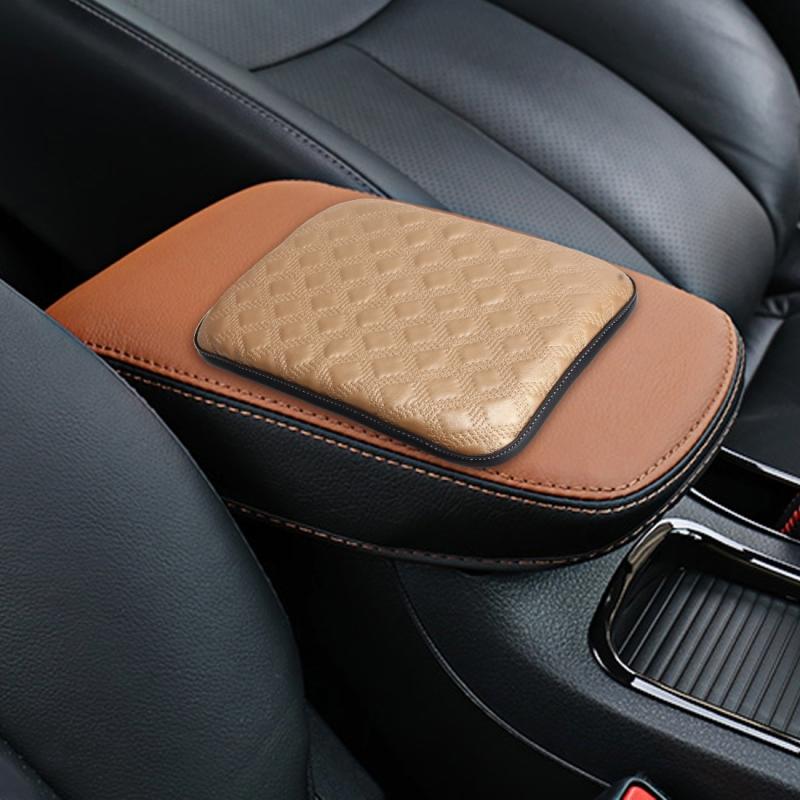 Universal Comfortable Automotive Armrest Mats Car Armrests Cover Vehicle Center Console Arm Rest Seat Box Soft Mats Cushion (Gold)