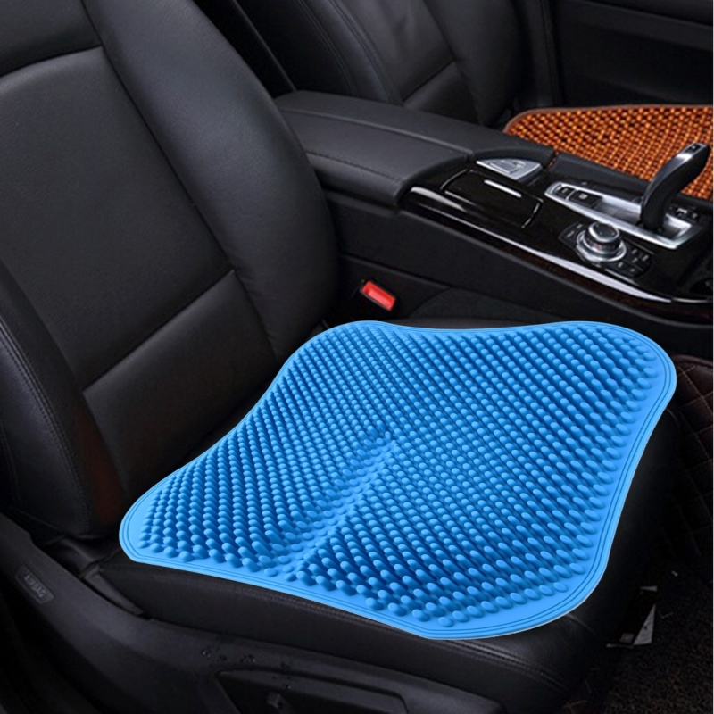 Car Seat Cushion Backless Massage High Memory Silicone Breathable Mesh Silica Gel Car Seat Covers Blue