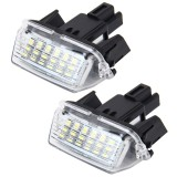 2 PCS License Plate Light with 18 SMD-3528 Lamps for Toyota, 2W 120LM, 6000K, DC12V (White Light)