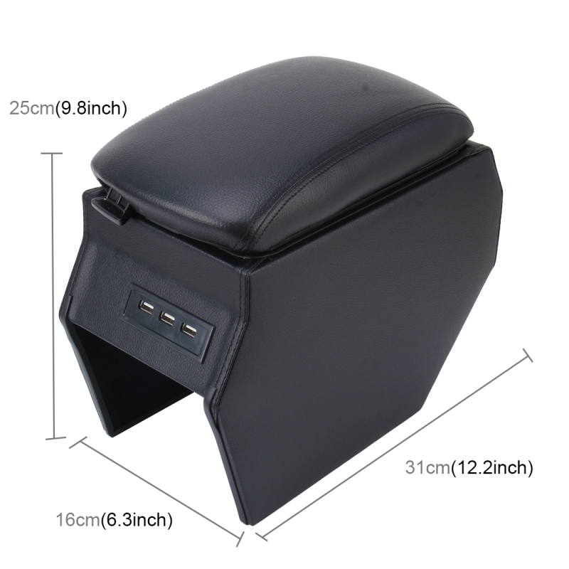 car abs leather wrapped armrest box with fast charge usb holes and cables for peugeot 2008. Black Bedroom Furniture Sets. Home Design Ideas