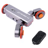 YELANGU L4 Camera 3-wheel Dolly II Electric Track Slider 3-Wheel Video Pulley Rolling Dolly Car with Remote Control for DSLR / Home DV Cameras, GoPro, Smartphones, Max Load: 3kg