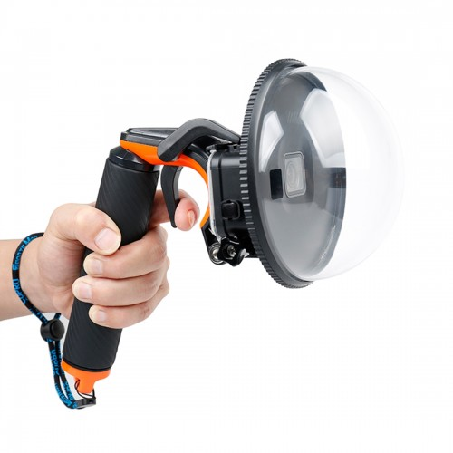Shutter Trigger + Dome Port Lens Transparent Cover + Floating Hand Grip Diving Buoyancy Stick with Adjustable Anti-lost Strap & Screw & Wrench for GoPro HERO5